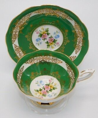 Royal Standard Floral Green & Gold England Tea Cup & Saucer