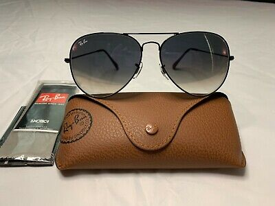 Ray-Ban Aviator Sunglasses RB3025 58mm 002/3F Black Frame w/ Blue Gradient Lens
