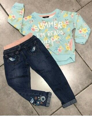George...F&F Girls Outfit 3-4 Years Floral/ Birds