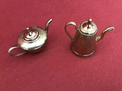 Antique Vintage Miniature Doll House Brass Tea & Coffee Pots With Lids. Set of 2