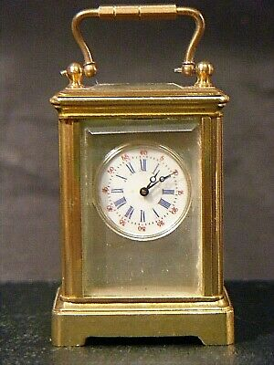 Antique Miniature Brass Carriage Clock Stunning