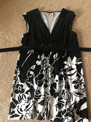 ECI Womens Black & White Floral Beaded Front Tie Back Dress Size L New