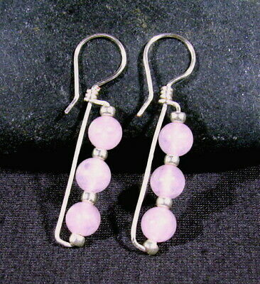 "Rose Quartz & Silver / Ancient Roman Style Earrings / 1.75"" / Very Comfortable!"