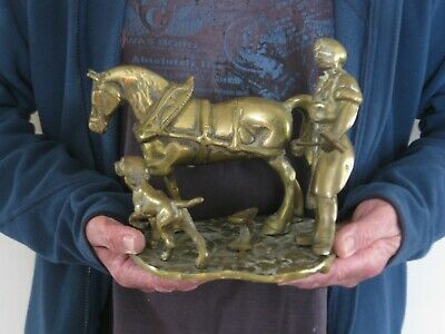 Vintage heavy solid brass horse man and dog statue 5KG