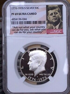 1776-1976 S NGC PF69 STAR CAMEO PROOF SILVER KENNEDY HALF JFK COIN SIGNATURE LB