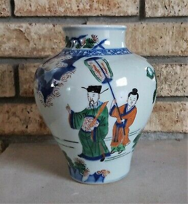 Antique Chinese Porcelain Jar Qing Dynasty not Vase Bowl Wucai late Ming