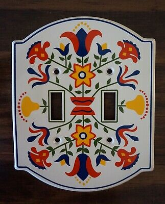 Vintage GE Pennsylvania Dutch Double Light Switch Plate Cover Metal 1974