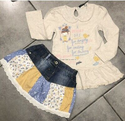 George Girls Patchwork Skirt Outfit 3-4 Years Vgc