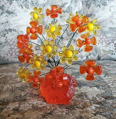 Vintage Retro Crystal Craft Flower Tree Orange And Yellow Original Label