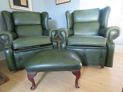 Antique Green, English Leather Chesterfield settee chairs foot stool set suite