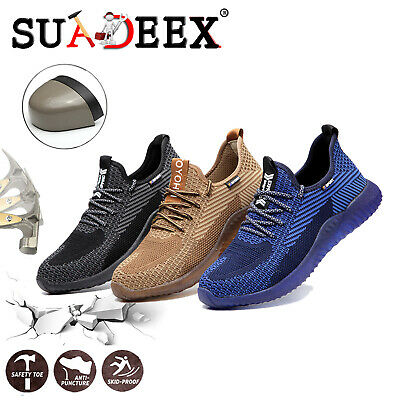 Mens Work Safety Shoes Hiking Breathable Outdoor Steel Toe Construction Sneakers