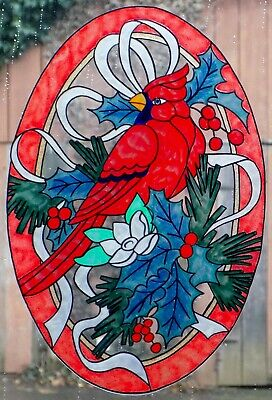 WICOART WINDOW COLOR STICKER CLING FAUX STAINED GLASS ART LOT 2 CORNERS CHATS BN