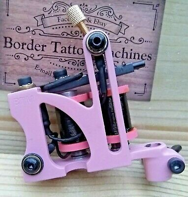 Border Tattoo Machine,Cut-Back Liner Custom Iron Pink Frame Custom 8 Layer Coils