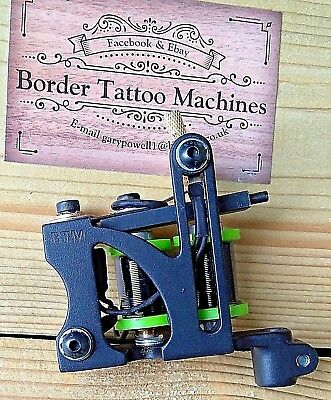 Border Tattoo Machine, Liner Custom Iron Black Frame Custom 8 Layer 32Mm Coils