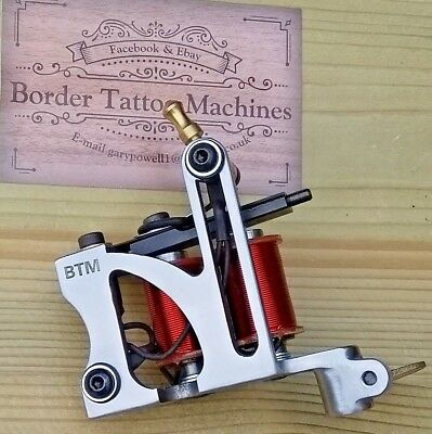 Border Tattoo Machine,Cut-Back-Liner Iron Polished Frame Red 8 Layer 32Mm Coils