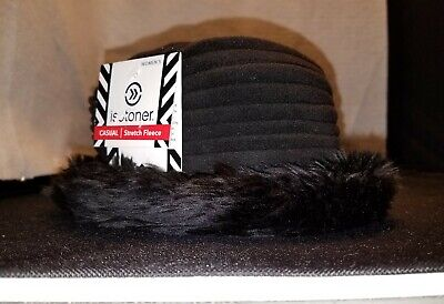 NWT Women's One Size ~ isotoner ~ BLACK Lycra CASUAL Stretch Fleece WINTER HAT
