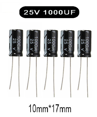 1000uF 25V  Electrolytic Capacitor 105°C Pack of 5
