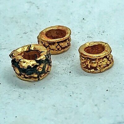 3 Late Or Post Medieval Gold Gilded Beads Byzantine Europe Antiquity Artifact