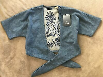 Levis Made Crafted Womens Denim Jacket Laser Cut Crop Wrap Sz S M L NEW