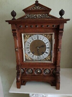 Lovely High Quality Antique Lenzkirch Oak Ting Tang Bracket Clock 1894