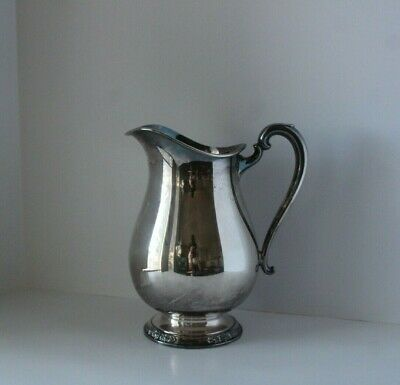 Vintage International Silver Camille Footed Repousse Silver Plate Water Pitcher