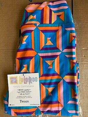 NWT LuLaRoe Leggings Tween LLR Logo Blue Pink Orange Purple Yellow Rare