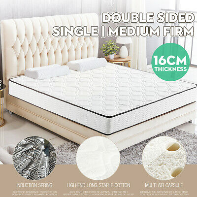 Breathable Medium Firm White Single Mattress Vacuum Packed Double Sided Spring
