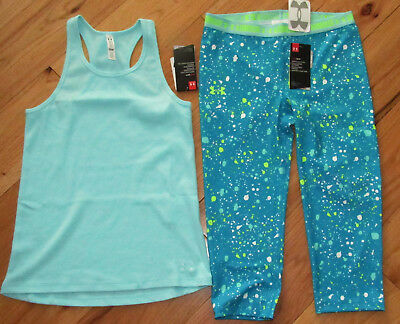 Under Armour ribbed tank top & cropped capris leggings NWT girls' L YLG