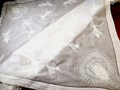 Vintage Hand Embroidered CHINA JAPAN White Cotton CRANES PEACOCK Table Cloth