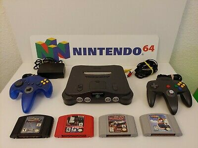 Nintendo 64 N64 Console Bundle w/4 great games 2 Controllers All Cords.Tested.