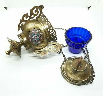 Antique Russian Icons Lamp Lampada Brass with Enamel & Blue Glass 19th century.