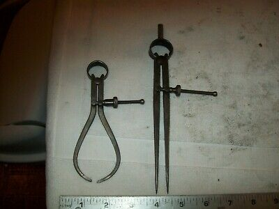 """2 Union Tool Co. Vintage Calipers 8"""" & 5 1/4"""" From 10"""" Logan #820 Metal Lathe"""