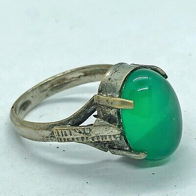 Antique Medieval Style Ring With Green Stone European Old Artifact Type Jewelry