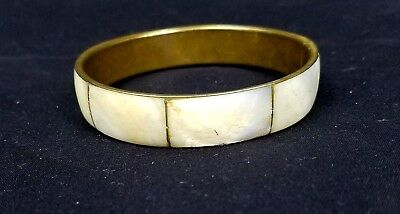 Brass Bangle Bracelet Mother of Pearl Inlay MOP Inlaid Vintage White Cream J004