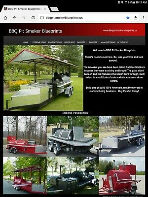 Pit Smoker trailer and backyard , BBQ Grills Blueprints Designs and Plans