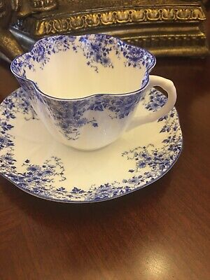Shelley Dainty Blue Tea Cup  Saucer England  Bone China