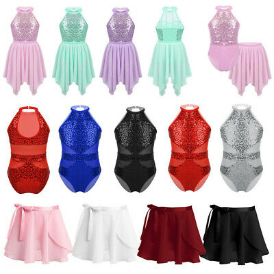 Girls Ballet Sequins Leotards+Tutu Skirt Dance Dress Gymanstics Unitards Costume