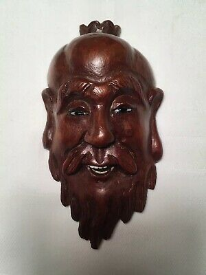 Antique Early 20th Century Miniature Carved Wooden Mask