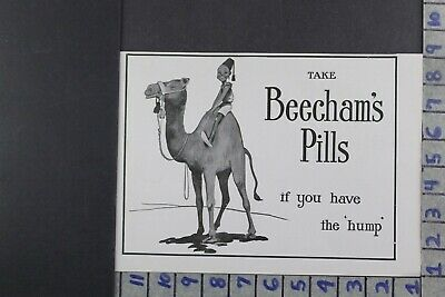 1915 Medical Beecham Pill Quack Medicine Camel Hump Eastern Culture Ad Dy006
