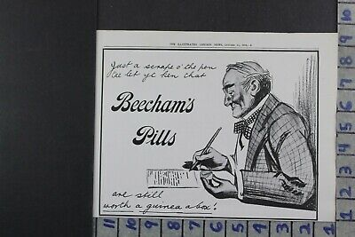 1916 Medical Quack Medicine Beecham Pill Health Writing Pen Fashion Ad Dy009