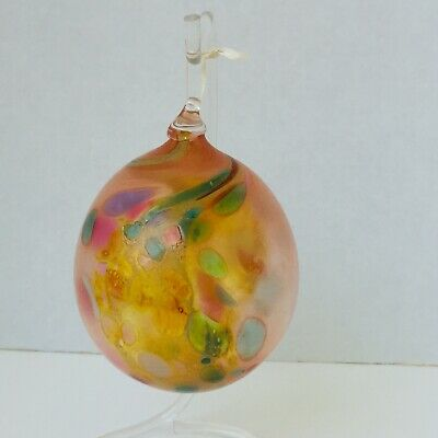 "Vintage Hand Blown Art Glass Ball Ornament Orb Large 4 1/2"" Pink, Orange & Green"