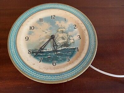 Smiths Galleon Ship Tin Plate Electric Wall Clock