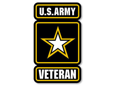 3x5 inch US Army Star Logo w/ VETERAN Sticker (vet logo seal military served us)