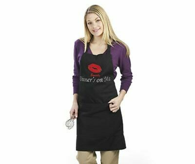 Black Apron  'Dinners On Me'  With Red Lips Embroidered     New In Bag