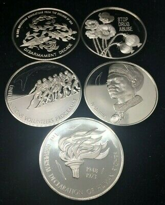Sterling Silver .925 Franklin Mint (5) Proof Coins-126 Grams-No Reserve! Scrap ?