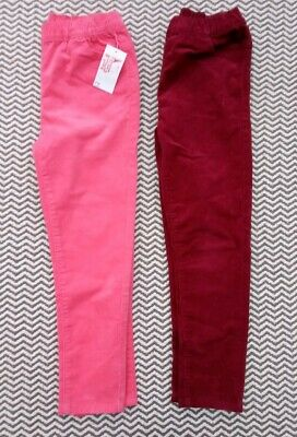 2 x PAIRS GIRLS PINK & RED CORDUROY TROUSERS AGE 8