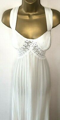 Vtg St Michael Cream Crimped Poly Negligee/ Nightdres Size 14