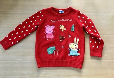Peppa Pig Girls Red Christmas Jumper From TU - Age 3 - 4 3 4