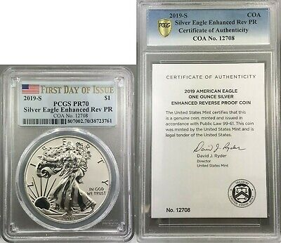 2019-S Enhanced Reverse Proof Silver Eagle Pcgs Pr70 Fdoi ~ First Day Of Issue