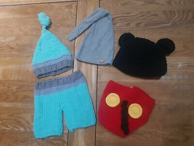 Newborn photography props boys Bundle, Mickey mouse,  knitted suit, sleepy hat